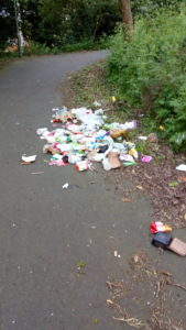 Photo of dumped rubbish behind The Lindens on the Alban Way