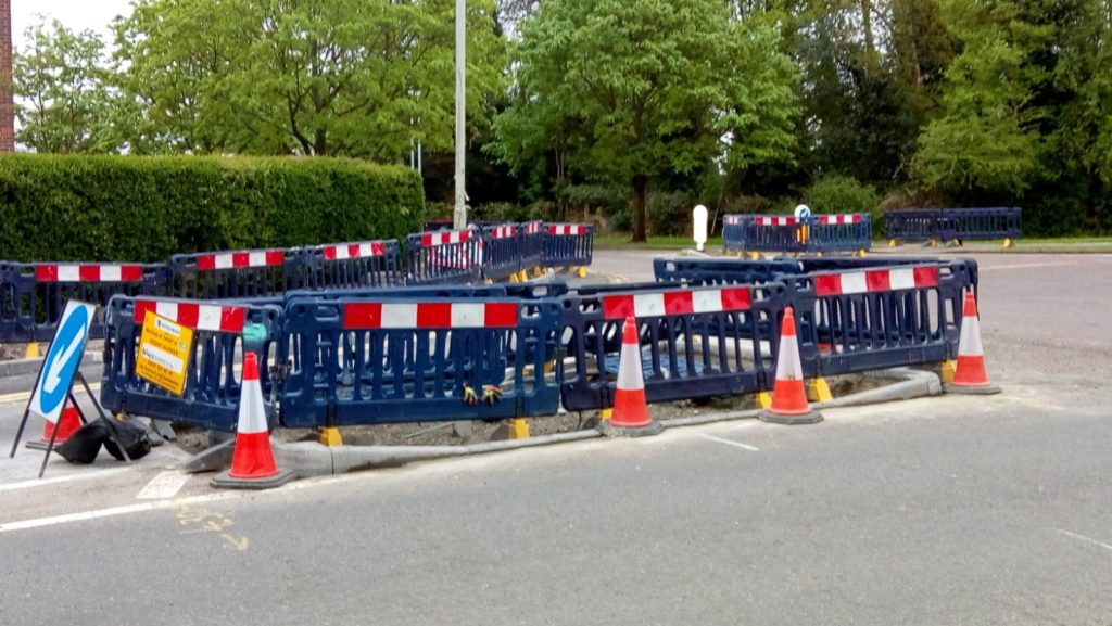 Photo of works on Bishops Rise to modify a traffic island for the cycle route.