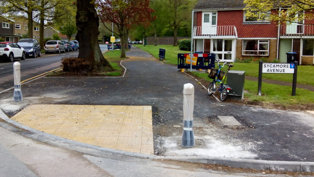 Section of cycle path which has nearly been completed.