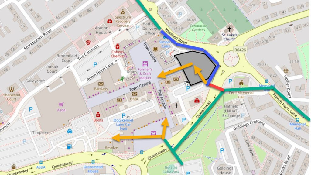 Hatfield town centre new route plan