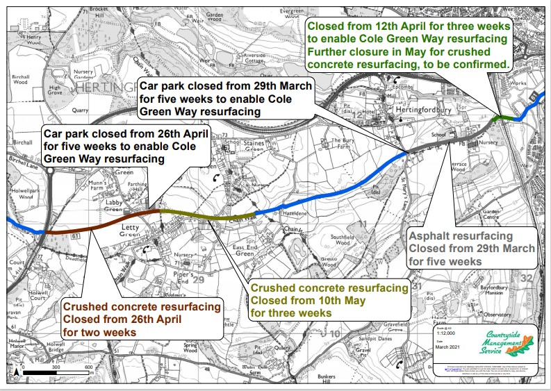 Map of the Cole Green Way showing the sections being resurfaced and the dates of works, as listed in the text.