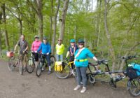People with bicycles on the Ayot Grenway